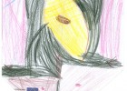 dziecięcy rysunek czarnego kota